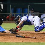 San Antonio Missions catcher Juan Fernandez tags out the Amarillo Sod Poodles' Dominic Canzone at the plate on Tuesday at Wolff Stadium. - photo by Joe Alexander