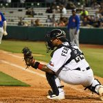 San Antonio Missions catcher Juan Fernandez takes a throw for a force out at the plate on Tuesday at Wolff Stadium. - photo by Joe Alexander