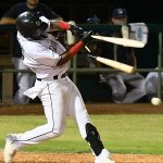 The San Antonio Missions' Olivier Basabe has his bat shattered on Tuesday at Wolff Stadium. - photo by Joe Alexander