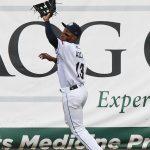 San Antonio Missions center fielder Jose Azocar tracks down a fly ball on Tuesday at Wolff Stadium. - photo by Joe Alexander