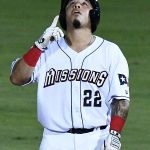 San Antonio Missions catcher Juan Fernandez celebrates after hitting a double in the fifth inning on Tuesday at Wolff Stadium. - photo by Joe Alexander
