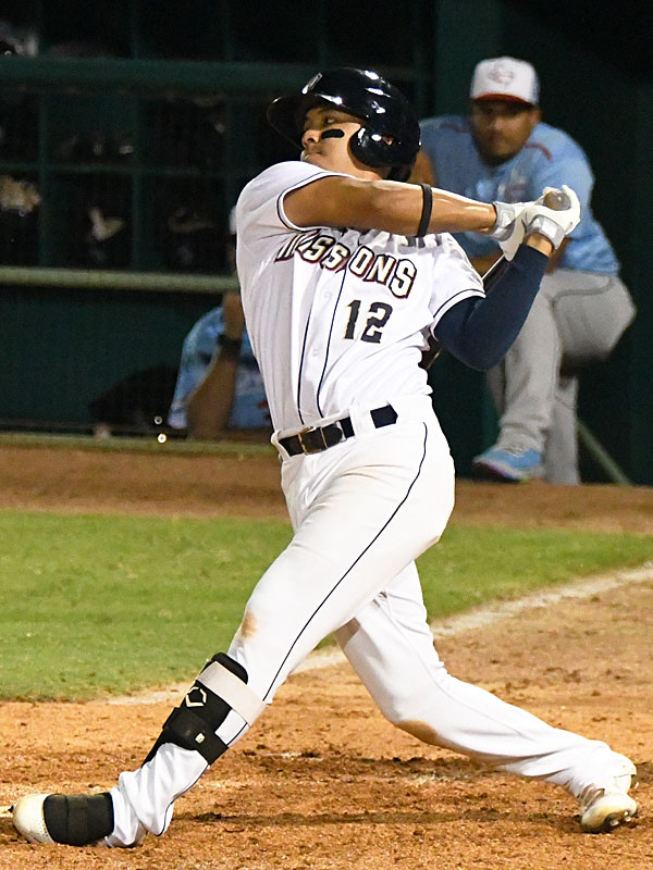 San Antonio second baseman Kelvin Melean doubles in the second inning to drive in the Missions' first run of the game on Tuesday at Wolff Stadium. - photo by Joe Alexander