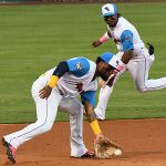 San Antonio Missions third baseman Allen Cordoba fields a ground ball in front of shortstop Eguy Rosario on Thursday at Wolff Stadium. - photo by Joe Alexander