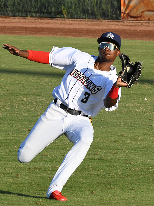 Esteury Ruiz, catching a fly ball near the right-field line, had the San Antonio Missions' only RBI in Friday's loss to the Corpus Christi Hooks at Wolff Stadium. - photo by Joe Alexander