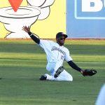 San Antonio Missions center fielder Jose Azocar makes a sliding catch on Friday at Wolff Stadium. - photo by Joe Alexander