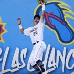 San Antonio Missions left fielder Michael Curry catches a deep fly ball against the wall on Friday at Wolff Stadium. - photo by Joe Alexander