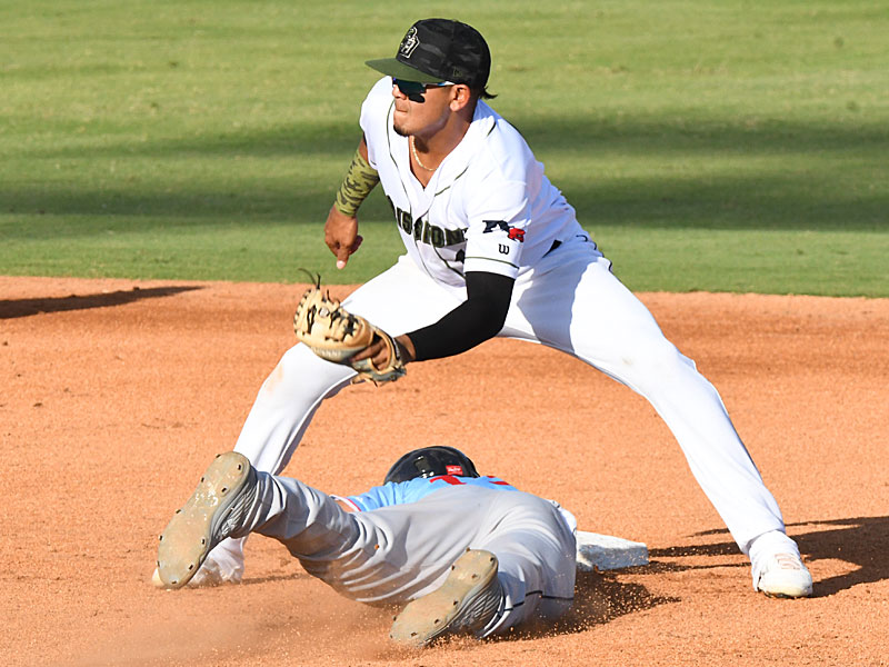San Antonio Missions second baseman Kelvin Melean tags out a Corpus Christi Hooks runner trying to steal Sunday at Wolff Stadium. - photo by Joe Alexander
