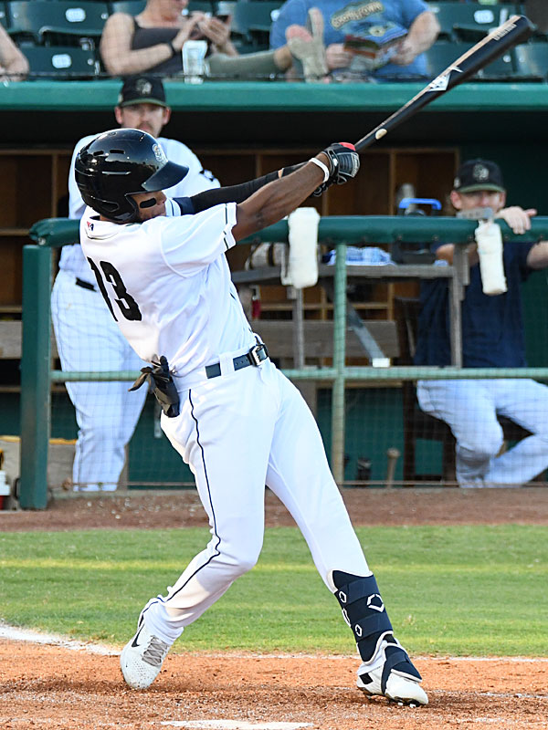Jose Azocar hits his ninth home run of the season for the San Antonio Missions' only run of the game Sunday at Wolff Stadium. - photo by Joe Alexander