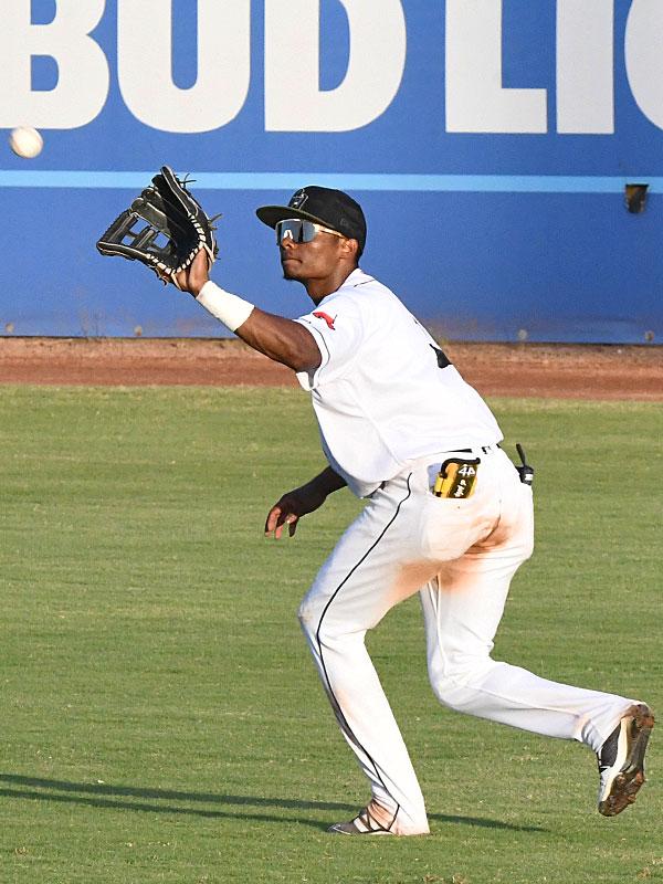 San Antonio Missions right fielder Esteury Ruiz snares a line drive Sunday at Wolff Stadium. - photo by Joe Alexander