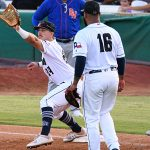 The San Antonio Missions' Michael Curry, who usually plays in the outfield, saw action at first base on Wednesday at Wolff Stadium. - photo by Joe Alexander