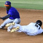 The San Antonio Missions Dwanya Williams-Sutton steals second base on Wednesday at Wolff Stadium. - photo by Joe Alexander