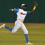 San Antonio Missions center fielder Esteury Ruiz makes a running catch on Thursday at Wolff Stadium. - photo by Joe Alexander