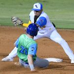 San Antonio Missions second baseman Kelvin Melean puts the tag on a Midland player trying to steal on Thursday at Wolff Stadium. - photo by Joe Alexander