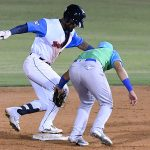 San Antonio Missions first baseman Allen Cordoba pulls safely into second base with a double in the ninth inning on Thursday at Wolff Stadium. - photo by Joe Alexander