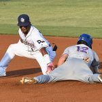 San Antonio Missions shortstop Eguy Rosario trying to tag out a Midland RockHounds base stealer on Friday at Wolff Stadium. - photo by Joe Alexander