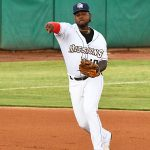 San Antonio Missions third baseman Olivier Basabe throwing to first on Friday at Wolff Stadium. - photo by Joe Alexander