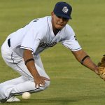San Antonio Missions second baseman Kelvin Melean dives for a hard hit ground ball on Friday at Wolff Stadium. - photo by Joe Alexander