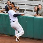 San Antonio Missions first baseman Allen Cordoba snares a popup in foul territory on Saturday at Wolff Stadium. - photo by Joe Alexander
