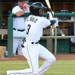 Esteury Ruiz singles in the third inning to drive in the San Antonio Missions' first run of the game on Sunday at Wolff Stadium. - photo by Joe Alexander