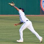 San Antonio Missions right fielder Agustin Ruiz goes into the gap to catch a fly ball on Sunday at Wolff Stadium. - photo by Joe Alexander