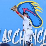San Antonio Missions left fielder Michael Curry catches a deep fly ball on Sunday at Wolff Stadium. - photo by Joe Alexander