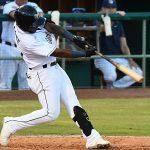 San Antonio Missions third baseman Olivier Basabe hits a fifth-inning home run on Sunday at Wolff Stadium. - photo by Joe Alexander
