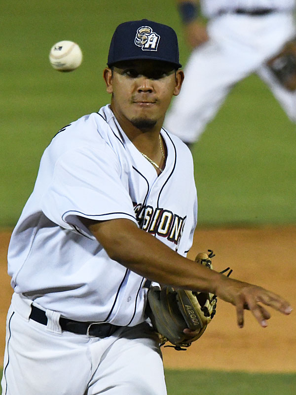 San Antonio Missions infielder Kelvin Melean pitched a 1-2-3 ninth inning on Tuesday at Wolff Stadium. - photo by Joe Alexander