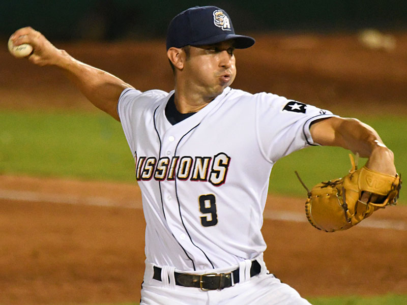 San Diego Padres pitcher Javy Guerra worked one scoreless inning on Saturday at Wolff Stadium while on a rehab assignment with the San Antonio Missions. - photo by Joe Alexander
