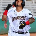 The San Antonio Missions' Juan Fernandez celebrates after hitting his eighth home run of the season in Wednesday's first game at Wolff Stadium. - photo by Joe Alexander