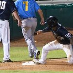 The Missions' Allen Cordoba slides into third in the bottom of the sixth inning before scoring on an error to tie it 4-4 in Wednesday's second game at Wolff Stadium. - photo by Joe Alexander