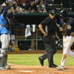 The Missions' Allen Cordoba scores in the bottom of the sixth inning to tie it 4-4 in Wednesday's second game at Wolff Stadium. - photo by Joe Alexander