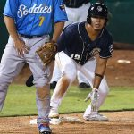 The Missions' Kelvin Melean pulls safely into third before scoring the winning run in Wednesday's second game at Wolff Stadium. - photo by Joe Alexander