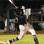 The Missions' Ethan Skender hits a walk-off single in the bottom of the seventh inning in Wednesday's second game at Wolff Stadium. - photo by Joe Alexander