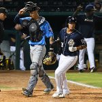 The Missions' Kelvin Melean scores the winning run in Wednesday's second game at Wolff Stadium. - photo by Joe Alexander