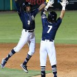 The Missions' Esteury Ruiz (3) and Ethan Skender (7) celebrate after Skender's walk-off hit in Wednesday's second game at Wolff Stadium. - photo by Joe Alexander