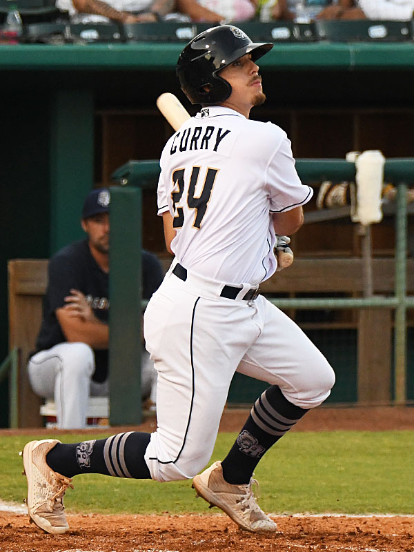 Michael Curry hits a double to drive in the San Antonio Missions' only run on Friday at Wolff Stadium. - photo by Joe Alexander