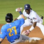 San Antonio Missions shortstop Eguy Rosario tags out the Amarillo Sod Poodles' Dominic Miroglio at second base on Friday at Wolff Stadium. - photo by Joe Alexander