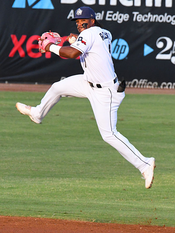 San Antonio Missions shortstop Eguy Rosario makes a throw to first on a grounder to the left side on Saturday at Wolff Stadium. - photo by Joe Alexander