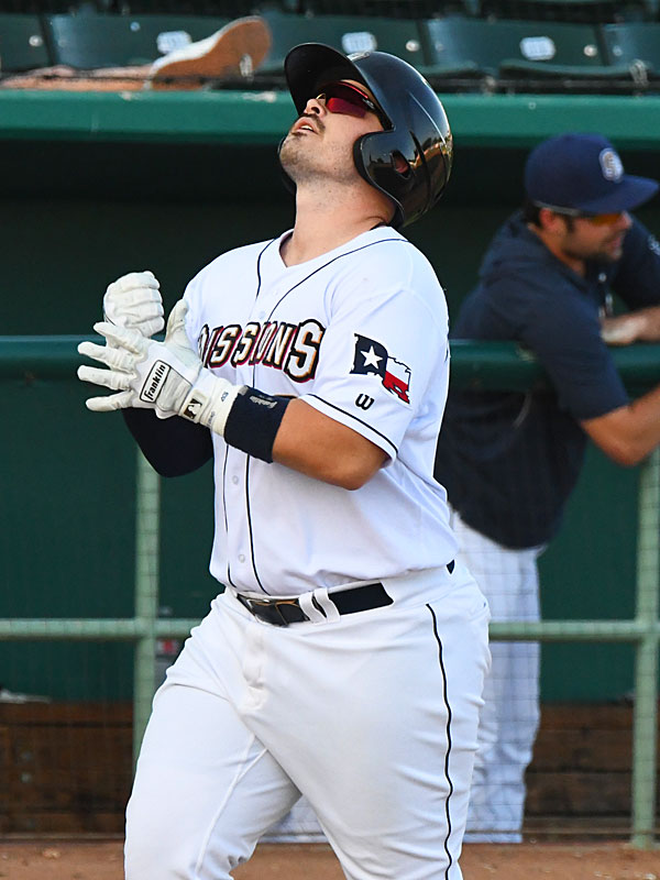 The San Antonio Missions' Kyle Overstreet celebrates his second-inning home run in Sunday's victory over the Amarillo Sod Poodles at Wolff Stadium. - photo by Joe Alexander