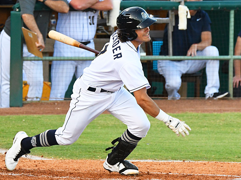 The San Antonio Missions' Ethan Skender had an RBI single in the second inning on Sunday at Wolff Stadium. - photo by Joe Alexander