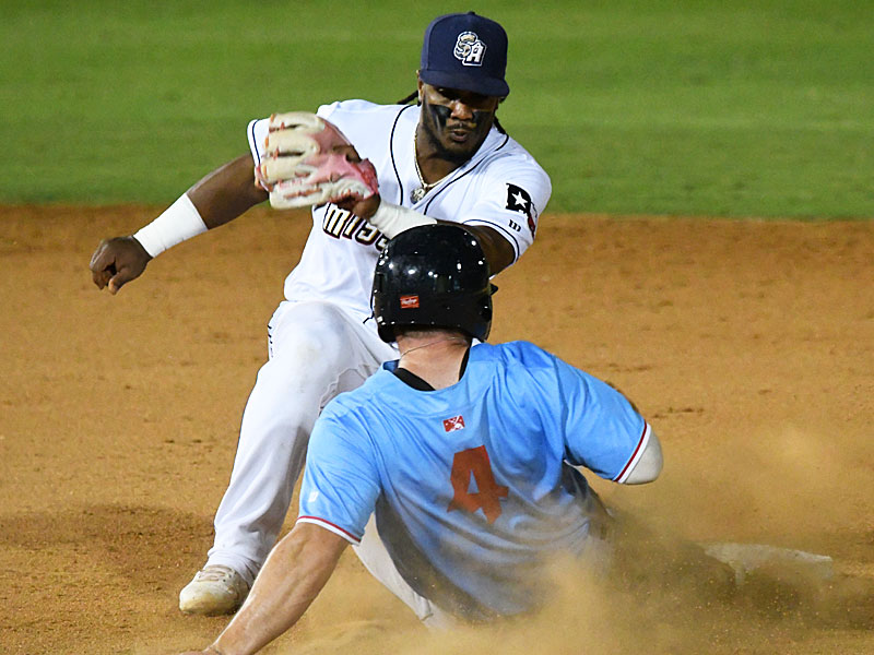 San Antonio Missions shortstop Eguy Rosario tags out the Corpus Christi Hooks' Luke Barryhill trying to steal second on Tuesday at Wolff Stadium. - photo by Joe Alexander