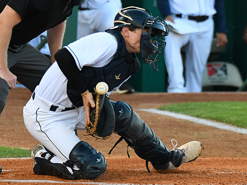 San Antonio Missions catcher Chandler Seagle blocks a pitch in the dirt on Wednesday at Wolff Stadium. - photo by Joe Alexander