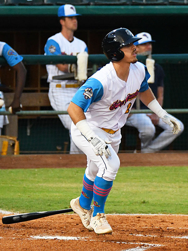 Michael Curry drove in Dwayna Williams-Sutton with the San Antonio Missions' first run on the second inning on Thursday at Wolff Stadium. - photo by Joe Alexander