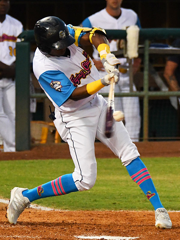 The San Antonio Missions' Esteury Ruiz had a two-run single in the second inning on Thursday at Wolff Stadium. - photo by Joe Alexander