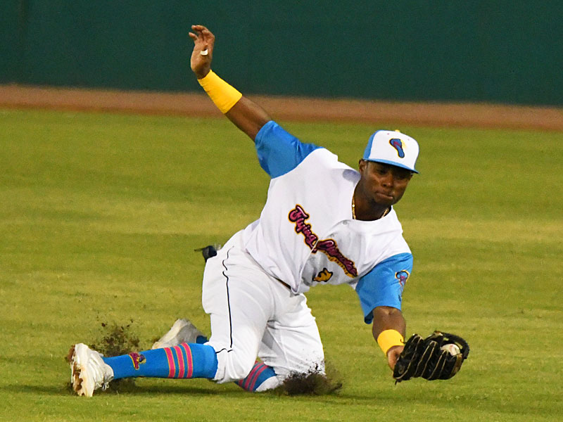 Esteury Ruiz had this catch in center field in addition to two run-scoring hits for the San Antonio Missions on Thursday at Wolff Stadium. - photo by Joe Alexander