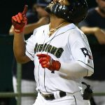 San Antonio Missions shortstop Eguy Rosario celebrates before touching home plate on his eighth-inning home run on Friday at Wolff Stadium. - photo by Joe Alexander